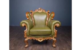 Мягкое кресло кожаное Белла в стиле Барокко